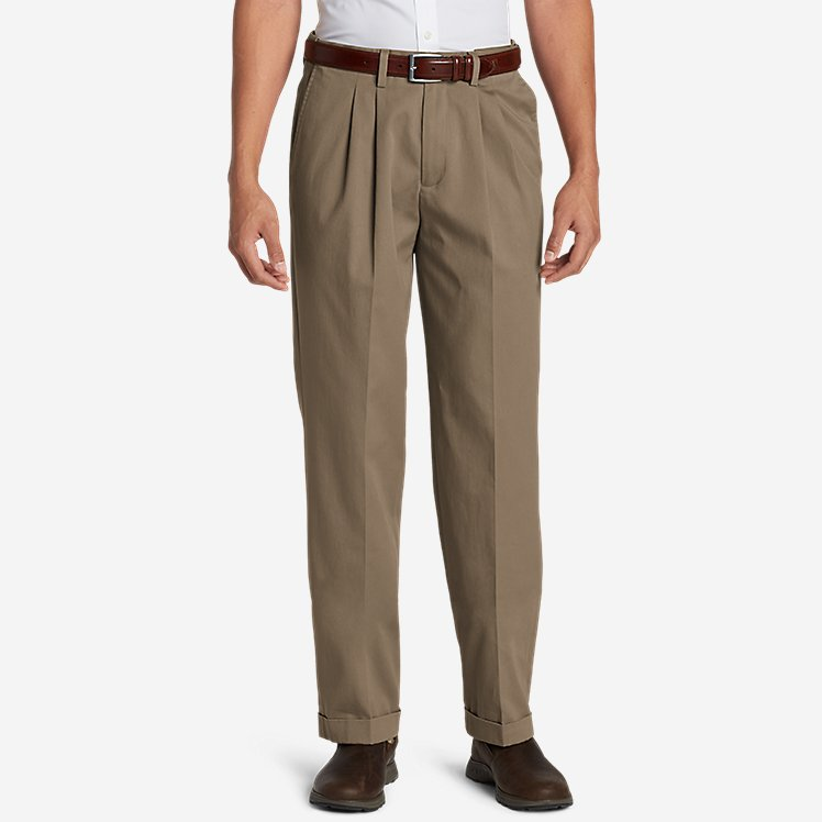 Men's Dress Performance Comfort-Waist Pleated Khakis - Relaxed large version