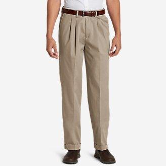Thumbnail View 1 - Men's Dress Performance Comfort-Waist Pleated Khakis - Relaxed