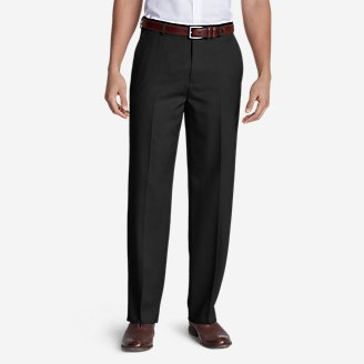 Thumbnail View 1 - Men's Relaxed Fit Flat-Front Wool Gabardine Trousers