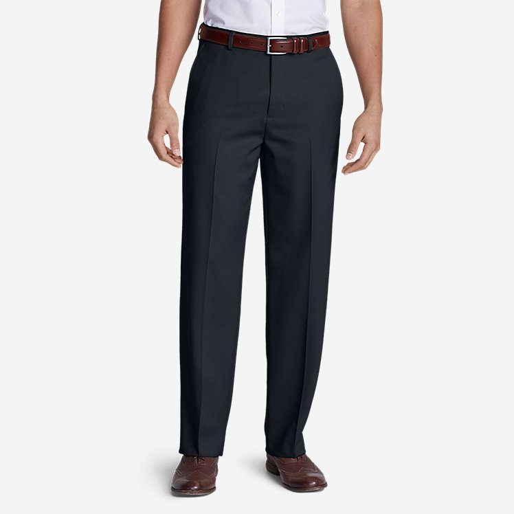 Men's Relaxed Fit Flat-Front Wool Gabardine Trousers large version