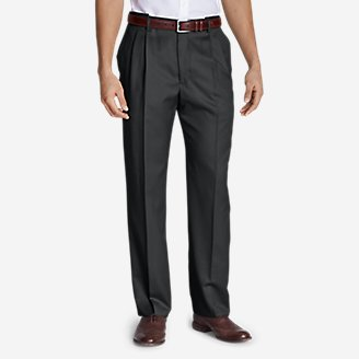 Thumbnail View 1 - Men's Relaxed Fit Pleated Comfort Waist Wool Gabardine Trousers