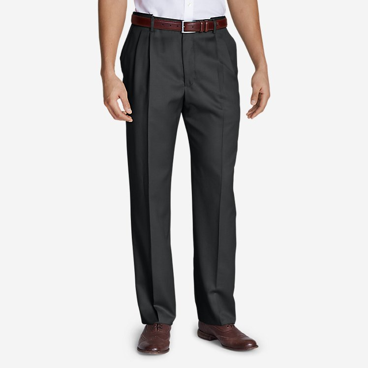 Men's Relaxed Fit Pleated Comfort Waist Wool Gabardine Trousers large version