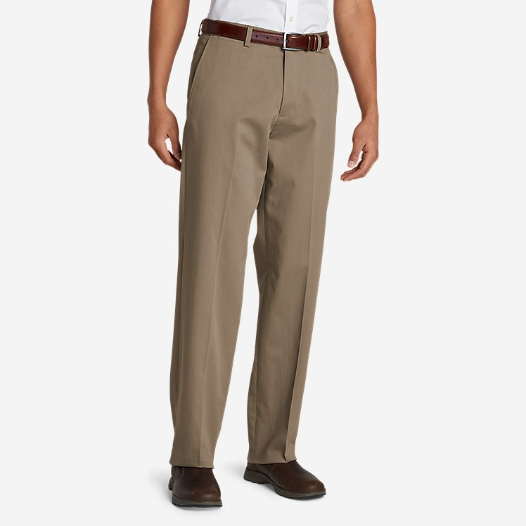 Men's Performance Dress Flat-Front Khaki Pants - Relaxed Fit large version
