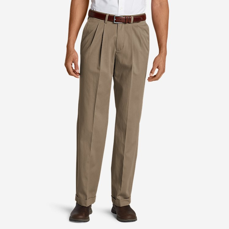 Men's Wrinkle-Free Relaxed Fit Pleated Performance Dress Khaki Pants large version