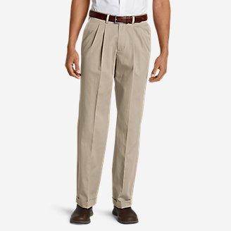 Thumbnail View 1 - Men's Wrinkle-Free Relaxed Fit Pleated Performance Dress Khaki Pants