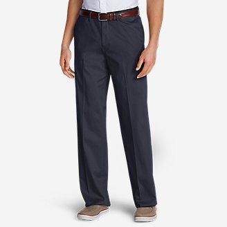 Thumbnail View 1 - Men's Wrinkle-Free Relaxed Fit Comfort Waist Flat Front Performance Dress Khaki Pants