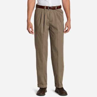 Thumbnail View 1 - Men's Performance Dress Comfort Waist Pleated Khaki Pants - Relaxed Fit