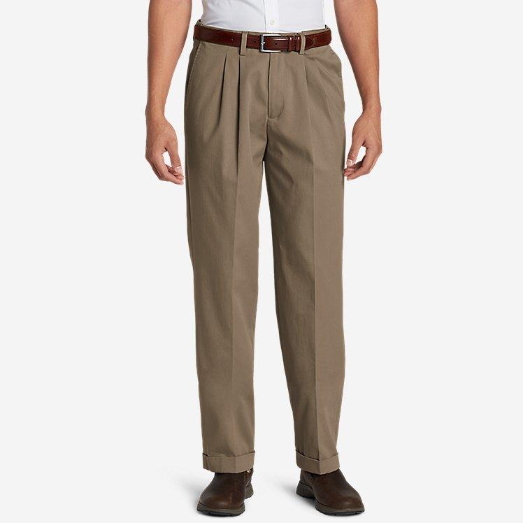 Men's Performance Dress Comfort Waist Pleated Khaki Pants - Relaxed Fit large version