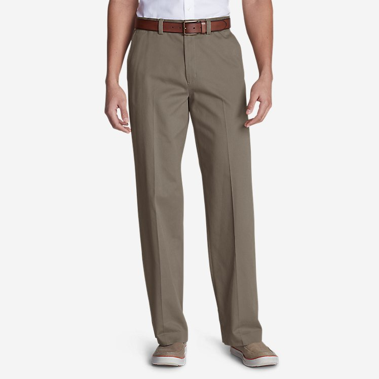 Men's Casual Performance Chino Flat-Front Pants - Relaxed Fit large version