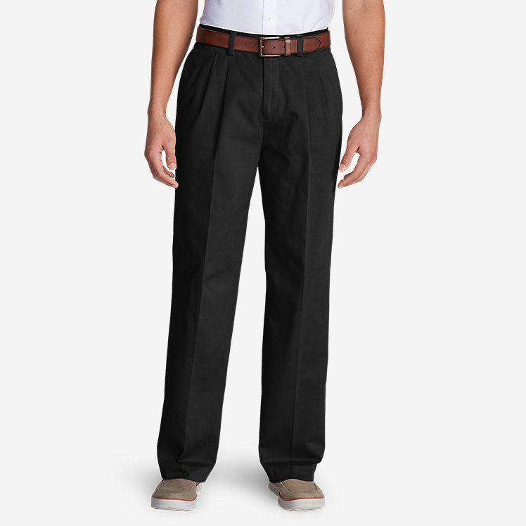 Men's Wrinkle-Free Relaxed Fit Pleated Casual Performance Chino Pants large version