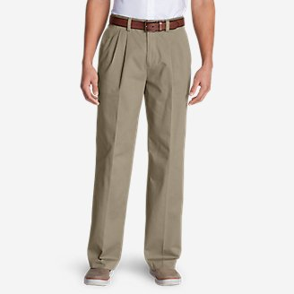 Thumbnail View 1 - Men's Wrinkle-Free Relaxed Fit Pleated Casual Performance Chino Pants