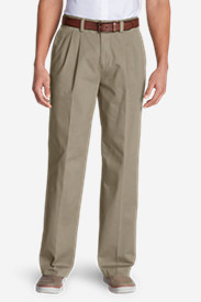 Men's Wrinkle-Free Relaxed Fit Pleated Casual Performance Chino Pants