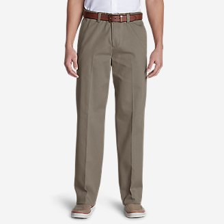 Thumbnail View 1 - Men's Wrinkle-Free Relaxed Fit Comfort Waist Flat Front Casual Performance Chino Pants