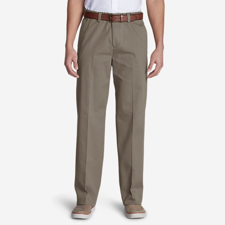Men's Wrinkle-Free Relaxed Fit Comfort Waist Flat Front Casual Performance Chino Pants large version