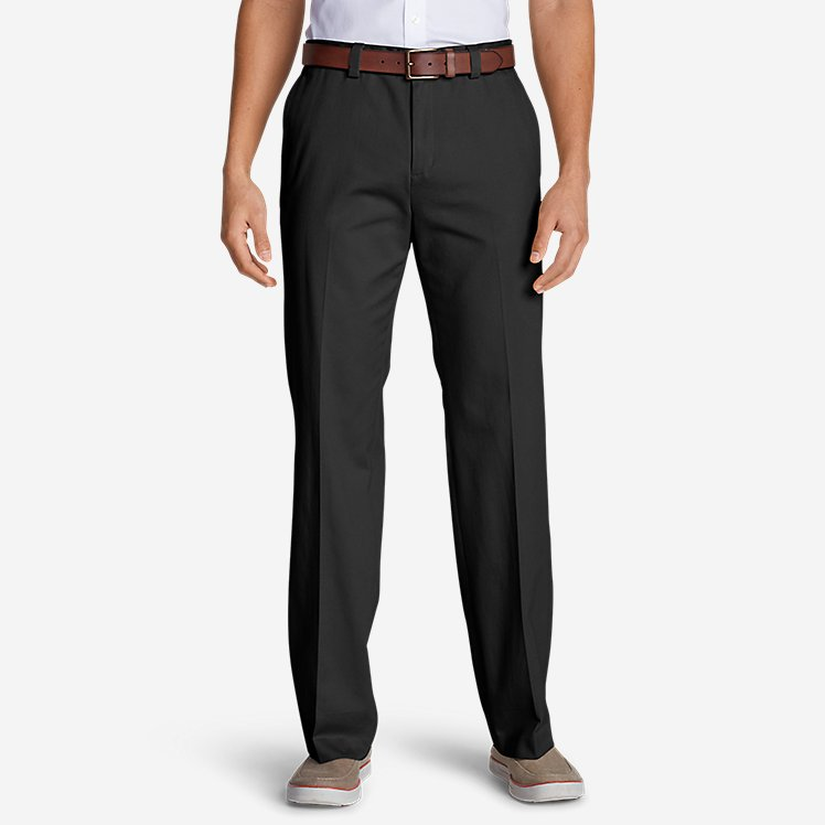 Men's Casual Performance Chino Flat-Front Pants - Classic Fit large version
