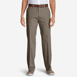 Thumbnail View 1 - Men's Casual Performance Chino Flat-Front Pants - Classic Fit