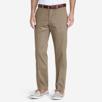 Thumbnail View 1 - Men's Wrinkle-Free Slim Fit Flat-Front Performance Dress Khaki Pants