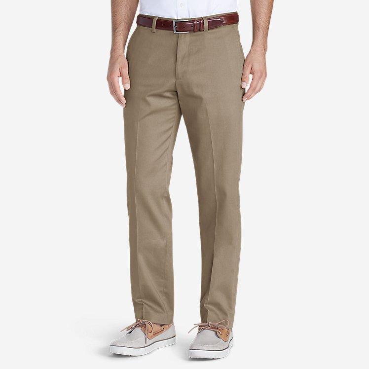 Men's Wrinkle-Free Slim Fit Flat-Front Performance Dress Khaki Pants large version