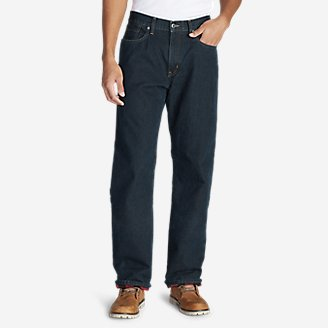 Thumbnail View 1 - Men's Flannel-Lined Jeans - Relaxed Fit