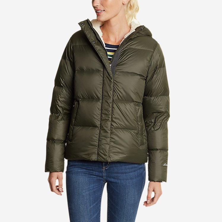 Women's Stratuslite Down Faux Shearling-Lined Hoodie large version