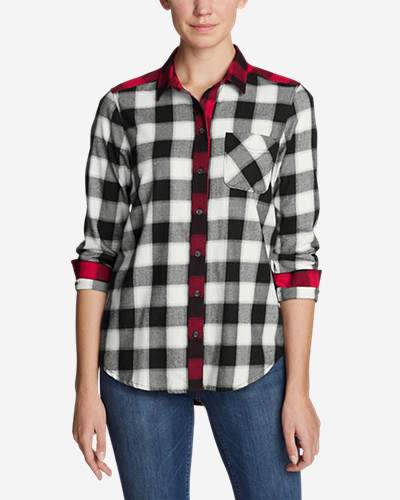 Women's Stine's Favorite Flannel Shirt   Mixed Plaid Boyfriend by Eddie Bauer