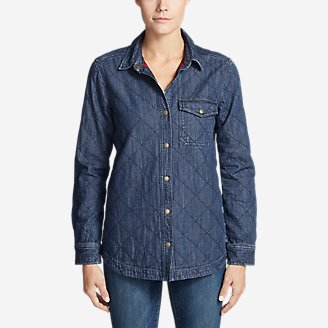 Thumbnail View 1 - Women's Quilted Indigo Shirt Jacket