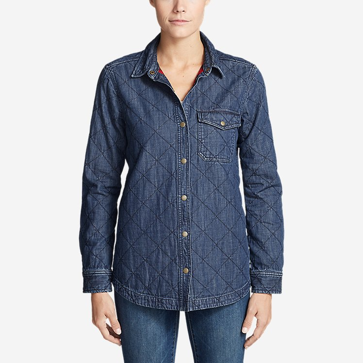 Women's Quilted Indigo Shirt Jacket large version