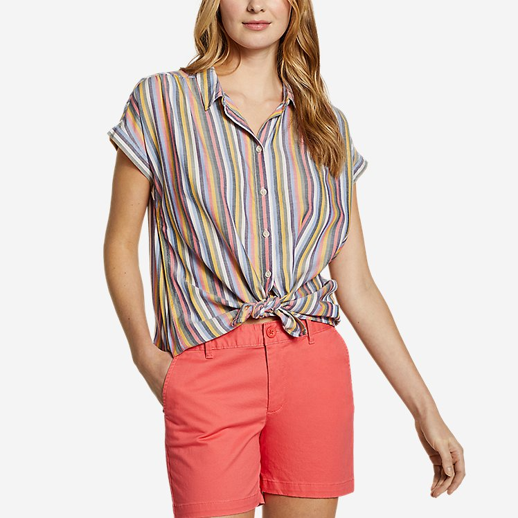 Women's Tranquil Short-Sleeve Shirred Shirt - Pattern large version