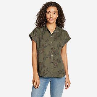 Thumbnail View 1 - Women's Tranquil Short-Sleeve Shirred Shirt - Pattern