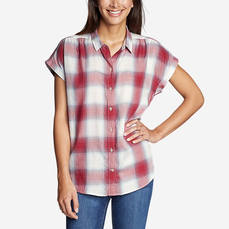 Women's Tranquil Short-Sleeve Shirred Shirt - Pattern large version