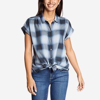 Thumbnail View 1 - Women's Tranquil Short-Sleeve Shirred Shirt - Pattern