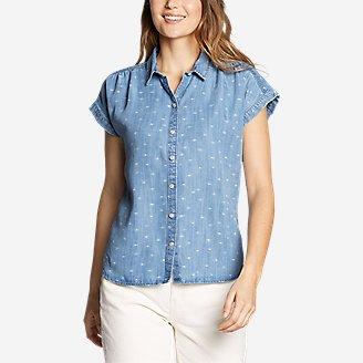 Thumbnail View 1 - Women's Tranquil Short-Sleeve Shirred Shirt - Indigo