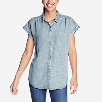 Thumbnail View 1 - Women's Tranquil Short-Sleeve Shirred Shirt - Indigo
