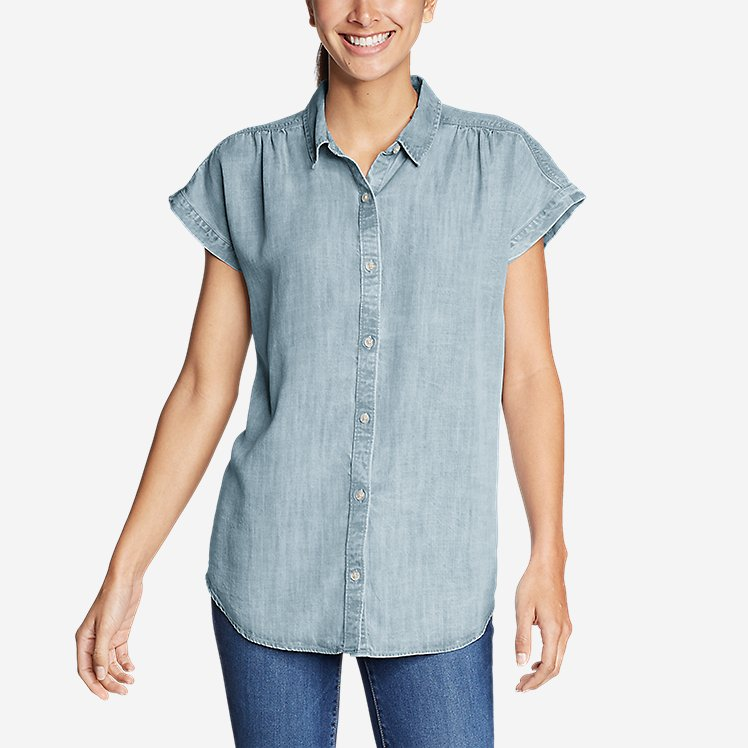 Women's Tranquil Short-Sleeve Shirred Shirt - Indigo large version