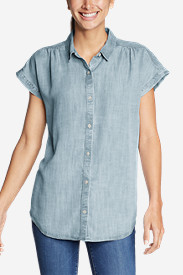 Women's Tranquil Short-Sleeve Shirred Shirt - Indigo