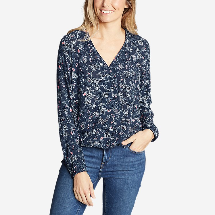 Women's Thistle Long-Sleeve Wrap Top - Print large version