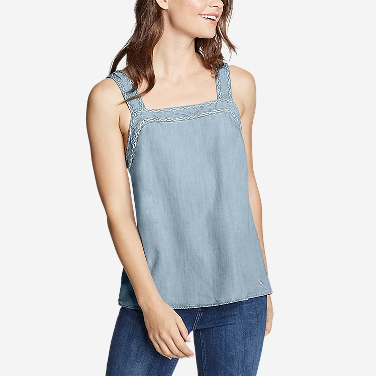 Women's Tranquil Square-Neck Embroidered Sleeveless Top large version
