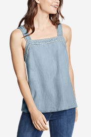 Women's Tranquil Square-Neck Embroidered Sleeveless Top