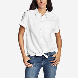 Thumbnail View 1 - Women's Emmons Vista Short-Sleeve Tie-Front Shirt - Boyfriend