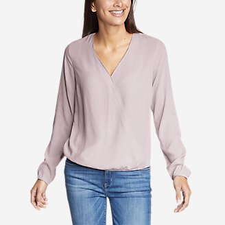 Thumbnail View 1 - Women's Thistle Long-Sleeve Wrap Top - Solid