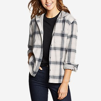 Thumbnail View 1 - Women's Stine's Favorite Flannel Hoodie Shirt Jacket