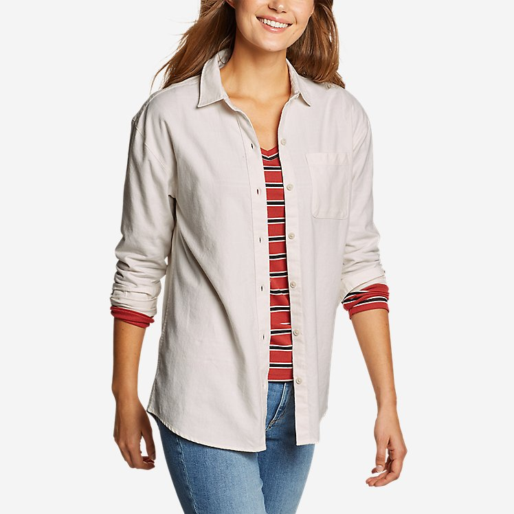 Women's Stine's Favorite Flannel Boyfriend Shirt - Solid large version