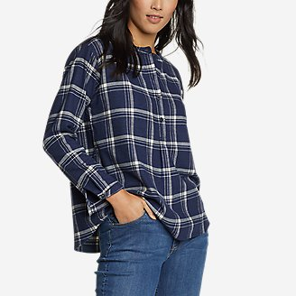 Thumbnail View 1 - Women's Fremont Flannel Crossover-Back Henley Shirt