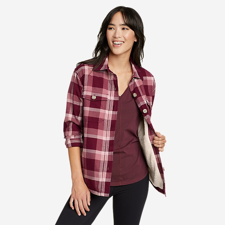 Women's Eddie's Favorite Flannel Faux Shearling-Lined Shirt Jacket large version