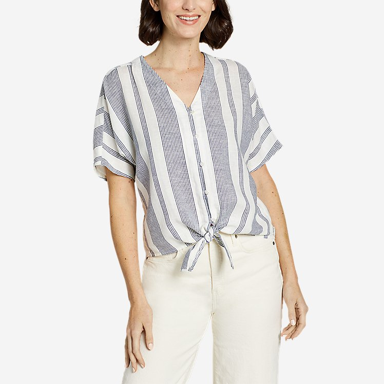Women's Beach Light Linen Tie-Front Top large version