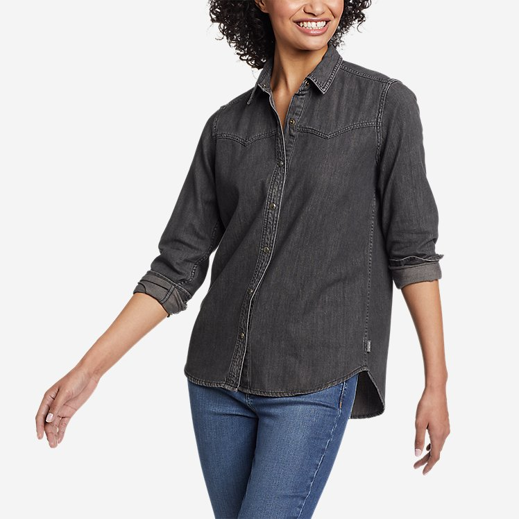 Women's Vintage Denim Western Shirt large version