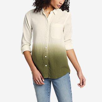 Thumbnail View 1 - Women's Carry-On Long-Sleeve Button-Down Shirt - Dip Dye