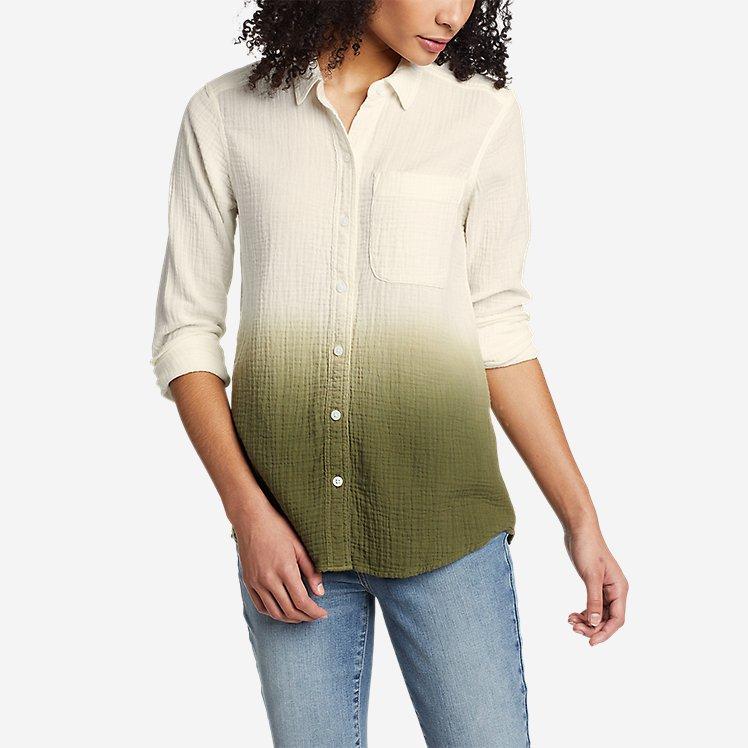 Women's Carry-On Long-Sleeve Button-Down Shirt - Dip Dye large version