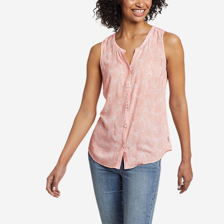 Women's Magnolia Y-Neck Button-Down Tank Top - Print large version