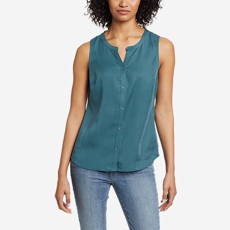 Women's Magnolia Y-Neck Button-Down Tank Top - Solid large version